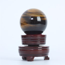 Wholesale Gemstone Tiger Eye - HJT 276g Wholesale Natural Yellow Tigereye Gemstone Sphere ball Tiger-eye healing sphere for sale Home Decorations small crystal ball 55mm