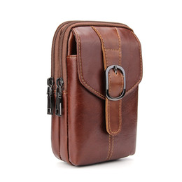 Wholesale Wholesale Waist Clip Bags - Large Capacity Genuine Leather Zipper Waist Bag With Holster Belt Clip Pouch Carrying Case Brown for iPhone8 7plus Galaxy Note 8 S8 Case