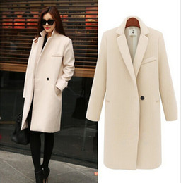 Wholesale Ladies Pink Wool Coats - Wholesale-Elegant Winter Coats Women Long Wool Coat Solid Color Lapel Single Button Ladies Office Overcoat Black Beige Pink