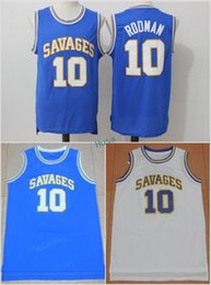 """Wholesale Yellow Worms - Cheap Oklahoma Savages College Jersey """"The Worm"""" 10 Dennis Rodman Blue White Stitched University Jerseys MENS S-XXL"""