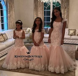 Wholesale Sleeveless Mermaid Dress Wedding - Mermaid Lace Arabic Flower Girl Dresses Champagne Tulle Baby Girl Birthday Party Christmas Communion Dresses Children Girl Party Dresses