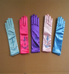 Wholesale Girls Holidays Gloves - Baby girl party princess gloves children holiday party glove birthday decorations Ice princess colors printing gloves