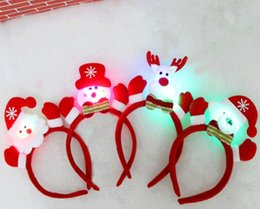 Wholesale Led Deer Christmas - Baby Xmas LED Hair Sticks cartoon Christmas deer Santa Claus Snowman Hair bands kids Hair Accessories Glowing Christmas tree Headband