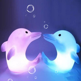 Wholesale Led Night Light Dolphin - Dolphin Night Light LED Lighted Toys LED Night Light Colorful Light-emitting Dolphins Creative Small Night Light Automatic Color Change LED