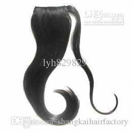 Wholesale Making Hair Clips - black silky straight 100% human hair human hair pony tails by clip and hair strand asided to fix,machine-made size is 2*3.5,hot selling now!
