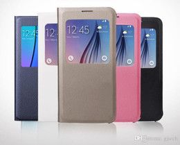 Wholesale S4 Official - Samsung Galaxy S4 S5 S6 S7 Edge Plus Note 3 4 5 A5 A7 Original Official Smart View Open Window Flip Leather Case Auto Sleep Awake Back Cover