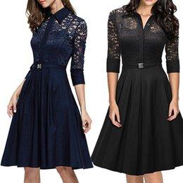 Wholesale Dresses Xx - The 2016 Spring Or Summer Fashion Women Dress Turtle Neck 3 4 Sleeve Women Lace Work Dress Size XX.