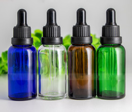 Wholesale Dropper Bottle Green Caps - 660pcs Lot 30ml Glass Dripper Bottles with Clear Blue Amber Green Bottle color And Plastic Head Cap 1OZ Eye Drop Aromatherapy Packing Bottle