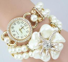 Wholesale Plastic Bracelets Rhinestones - Flower Charm pearl Watches Diamond Watch Woven Bracelet Watch Rhinestone Quartz Watch Pearl Flower Charm Watches