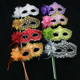 Wholesale Leather Face Mask Ball - Masquerade Mask On Stick Halloween Lace Leather Coated Handmade Mask With Feather Flower Side Ball Mask For Party Evening Prom