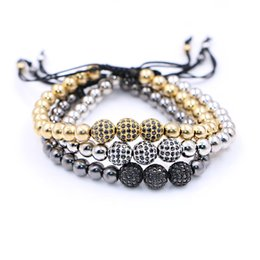 Wholesale Macrame Bracelets Beads - Anil Arjandas Men Bracelets,8mm Pave Setting Black CZ Beads & 18K Gold 6mm Round Beads & Braiding Macrame Bracelet For Men