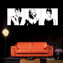 Wholesale Audrey Hepburn Decorations - Art-Large Classic Marilyn Monroe and Audrey Hepburn Picture Painting on Canvas Print without Framed, Modern Home Decorations Wall Art