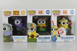 Wholesale Despicable Pvc - New hot sale FUNKO Pop Despicable Me Kevin Hula Minions Fireman Minions purple Minions Boxed 10CM gift for children