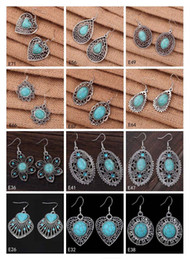 Wholesale Earring Mixed Tibetan - Hollow heart oval European Beads Dangle earring 12 pieces a lot mixed style,brand new women's DIY Tibetan silver turquoise earring EMTQE2