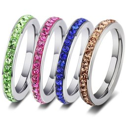 Wholesale wholesale row ring - New 20pcs fashion ladies full circle 1 row rhinestone stainless steel polished wear comfortable Jewelry band Rings wholesale lots