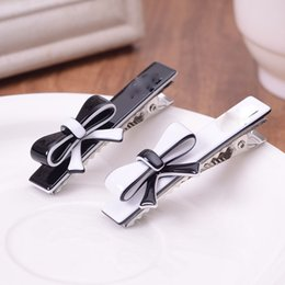 Wholesale Black Barrette Hair Clips - 6pc lot With popular logo hair bow barrettes women and girls bowknot hair clip hairpins white and black color