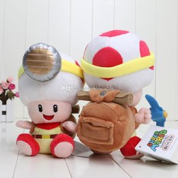 Wholesale Toad Doll - 10pc lot Super Mario brothers plush figure Captain Toad Plush ToysTreasure Tracker Stuffed Plush Dolls size in 19-22cm