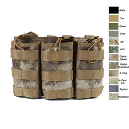 Wholesale Geared Magazine - Outdoor Sports Tactical Backpack Vest Gear Accessory Mag Magazine Holder Cartridge Clip Tactical Triple Magazine Pouch NO11-531