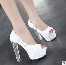 Wholesale Lace Princess Heels - White Lace Peep Toe Wedding Shoes Pink Black 12-13 cm High Heel Princess Shoes Fashion Transparent Chunky Heel shoes For special Occasion