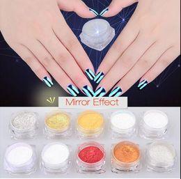 Wholesale Nails Varnish - 2g Shiny Glitter Polish Mirror Powder Nails Pigment Polish Varnish Chrome Nail Powder Mirror Effect Glitter Powder For Nails Art