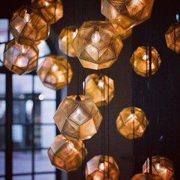 Wholesale Tom Dixon Etch Pendant - Tom Dixon Etch Pendant Light Vintage Ceiling Lamp Brass Ball Pendant Light Gold Silver Modern Bar Lamp 25cm Chandeliers Pendent Lamps