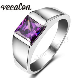 Wholesale Amethyst Silver Ring Men - Vecalon Male Jewelry Princess Cut 4ct Amethyst Cz 925 Sterling Silver Engagement wedding Band ring for Men Sz 8-12