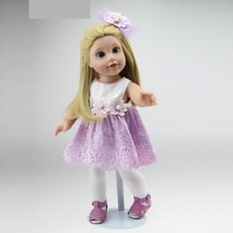 "Wholesale Half Body Silicone Doll - NEW 18"" 45cm Half Soft Body American Sweet Girl Dolls Handmade Baby Toys Birthday Gift for Girls Silicone reborn baby doll"