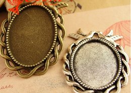 Wholesale Metal Blanks Pendants - A3773 27*38MM Fit 25*18MM Antique Bronze pigeon oval metal stamping blanks, dove tibetan silver bezel pendant base tray, cameo setting