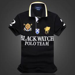 Wholesale Discount Sports Men Watches - discount Polo Shirt 100% Cotton Short Sleeve men Polos Sport S M L XL 2XL BLACK WATCH POLO TEAM Dropship