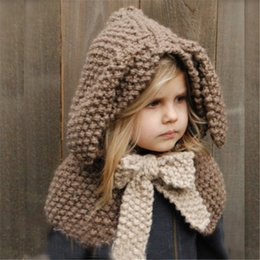 Wholesale Hooded Scarf Cute - Winter Warm Neck Wrap Rabbit Scarf Caps Cute Children Wool Knitted Hats Baby Girls Shawls Hooded Cowl Beanie Caps
