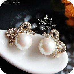Wholesale Studs 5g - Wholesale-OMH wholesale 12 pair off 31% = $0.55 pair EH24 accessories female won't vintage full rhinestone pearl bow stud earring 5g