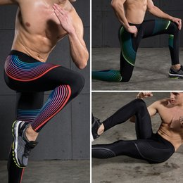Wholesale Leggings Men - Wholesale-Men's sports running basketball trousers summer stretch tights leggings soccer training pants jogging fitness compression