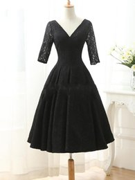 Wholesale Long Dresses Balck - Sexy Balck Lace Prom Dresses 2016 A-line Tea Length lace-up Cocktail Dresses Half Sleeves Party Gowns