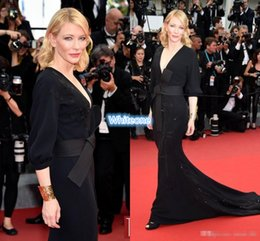Wholesale Cannes Celebrity - Mother Of Bride Dresses Applique V-Neck Long Sleeves Formal Gowns 2016 Cannes Cate Blanchett Celebrity Dresses Satin Mermaid Plus Gowns Sash