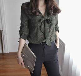 Wholesale Bow Tie Shirts - Free Shipping 2016 Summer Women Clothes Plus Size Casual Shirt v Neck Ruffles Long Sleeve Bow Ties Slim Tops Blouse (with wrapped chest)