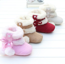 Wholesale Cheap Toddler Warm Boots - Candy color baby autumn & winter toddler shoes beautiful bow cheap kids soft snow boots 0-18 months girls warm boots 12pair 24pcs B7