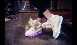 Wholesale Hot Colorful Boots - HOT 7Color LED luminous shoes USB charging shoe Plush dolls fluffy warm Martin boots women colorful lights high help shoes Christmas 50pair