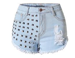 Wholesale Buttons Studs Rivets - WSH018 west fashion new hot women studs rivets jeans denim tore up cutoff shorts
