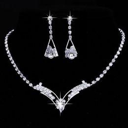 Wholesale V Shape Gold Necklace - Women Sparkling V Shaped Rhinestone Crystal Necklace Earrings Set Charm Wedding Bridal Jewelry Set 2016 charms jewelry