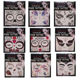 2019 transferências do tatuagem do rosto Fright Night Temporary Face Tattoo Body Art Transferência Tatuagens Temporárias Adesivos em estoque 9 Estilos 100pcs transferências do tatuagem do rosto barato