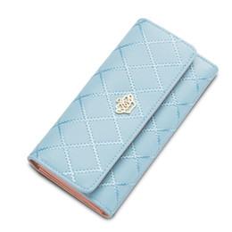 Wholesale Double Zipped Purses - Wholesale- 2016 New Fashion Women Crown Plaid Long Double Zip Clutch Leather Wallet Purse Coin Card Bag