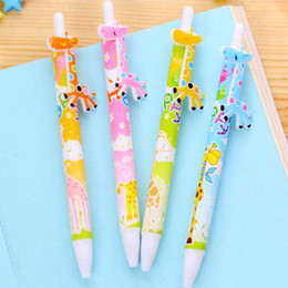Wholesale Giraffe Pens Wholesale - 20pcs Lot Lovely Giraffe Shape Ballpoint Pens Office School Student Prize Gifts Christmas Present Free Shipping Writing Pen Papelaria