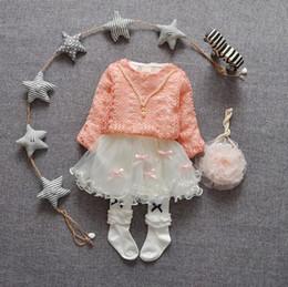 Wholesale Full Neck Necklaces - 2016 autumn Kids Clothing Children Dress Pearl Necklace Girls Lace Tutu Dress Sweater+Dress 2 Pcs 4 s l