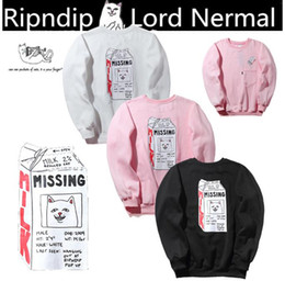 Wholesale Cheap Long Sleeve Pullover Sweater - hot sell Tide brand RIPNDIP supp cham cheap cat round neck sweater print plus velvet men and women shirt at the hip-hop autumn and winter l