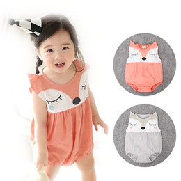 Wholesale Christmas Bodysuits - 2016 New INS Baby girs Romper suit Cute Cartoon Fox Cotton short sleeve Printing rompers girls costumes Toddlers bodysuits Sets 2 Colors