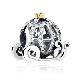 Wholesale Pandora Pumpkin - 100% genuine 925 silver beads pumpkin carriage charm DIY beaded necklaces for women Pandora Bracelet jewelry