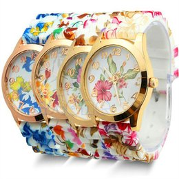 Wholesale Geneva Digital Watches - Luxury Watches Fashion Geneva Women Dress Watch Silicone Jelly Candy Rose Gold Flower Quartz Wristwatch Gift Watches