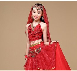 Wholesale Dancing Top For Girls - Indian Sari Children Indian Dance 5-piece Costume Set (Top, Belt, Skirt and Head Pieces) Kids Bollywood Dance Costumes for Girls