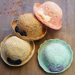 Wholesale Children Stingy Brim Hats - Fashion Baby Children Kids Summer Beach Bowknot Straw Dome Flanging Brim Hat Cap