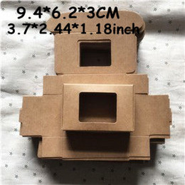 Wholesale Window Jewelry - Wholesale 50pcs lot 9.4*6.2*3CM Brown Kraft Box Carton Packaging Boxes For Jewelry   Soap   Card   Box with Window free shipping